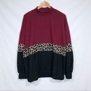 Riah Color Block Leopard Print Super Soft Sweater